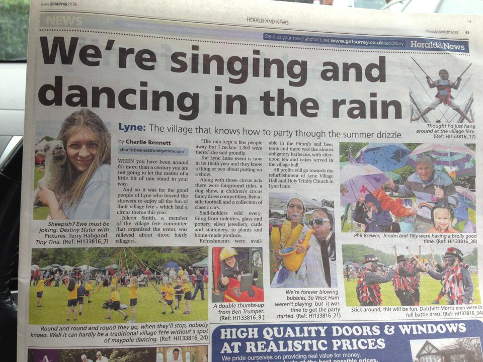 Lyne Fete hits the newspaper!